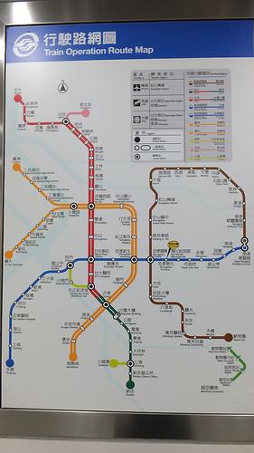 台湾 MRT路線図 2012年10月時点