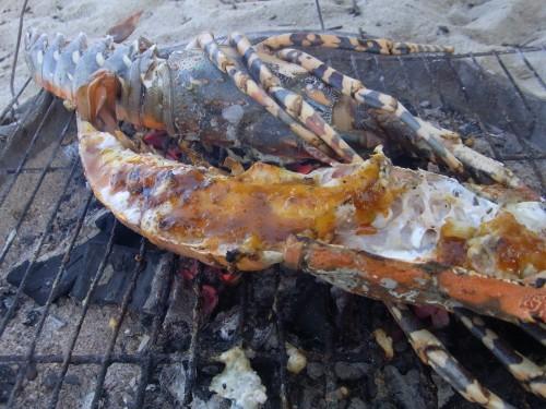 ニャチャンの海辺でロブスターにソースつけてくれました